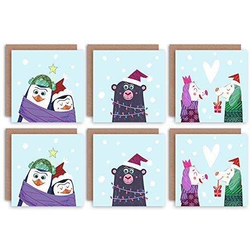 Wee Blue Coo Festive Bright and Friendly Christmas Card Pack Brillant