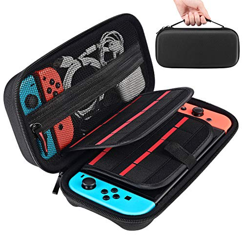 Tyuobox Nintendo Switch Carrying Case - Protective Hard Shell Travel Switch Case for Nintendo Switch Console & Accessories, Carry 20 Games Cartridges Pouch, Black