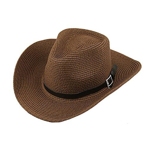 BXT Unisex Cowboy Hut, Frau Herren Faltbar Strohhut, Großer Krempe Sommerhut, Anti UV Panama Hut, Weiblicher Sommer Hut Sonnen UV Schutzkappe UPF 50 +, Kaffeebraun, Einheitsgröße