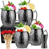 Moscow Mule Mugs- Set of 4 Black Plated Stainless Steel Mug 18oz, for...
