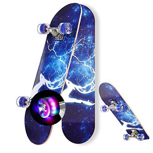 DFWYG Skateboard 9 Schichten Maple Modern Penny Board Skateboard 31 Zoll für Kinder Anfänger Teenager Erwachsene, Komplettes Skateboard mit Blinkenden LED-Leuchträdern und Tragbarem Rucksack