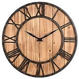 Reloj de pared vintage Likeluk de 15 pulgadas (40 cm), silencioso, vintage, de madera, sin ruido de tictac.
