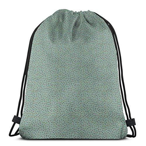 Drawstring Shoulder Backpack Travel Daypack Gym Bag Sport Yoga, Valentines Day Themed Doodle Hearts Love Friendship Symbol on Green Toned Background,5 Liter Capacity,Adjustable.