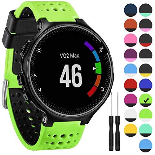 GVangel Armband kompatibel mit Garmin Forerunner 235, weiches Silikon Ersatz-Uhrenarmband für 220/230/235/620/630/735XT/235 Lite Smart Watch für Damen und Herren, GreLime-Schwarz