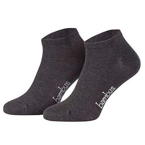 Piarini 6 Paar Bambus Socken Sneaker Socken Herren dünne atmungsaktive antibakterielle diabetiker Füßlinge Gr. 43 44 45 46 anthrazit