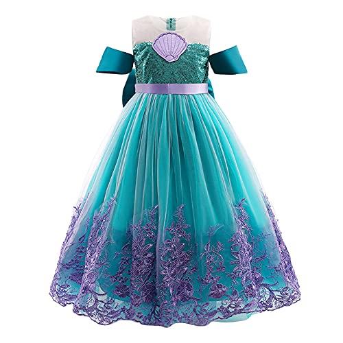 IWEMEK Mädchen Kleine Meerjungfrau Ariel Kostüm Prinzessin Kleid mit Zubehör Kinder Märchen Cosplay Weihnachten Halloween Karneval Verkleidung Kostüme Party Outfits Grün 6-7 Jahre