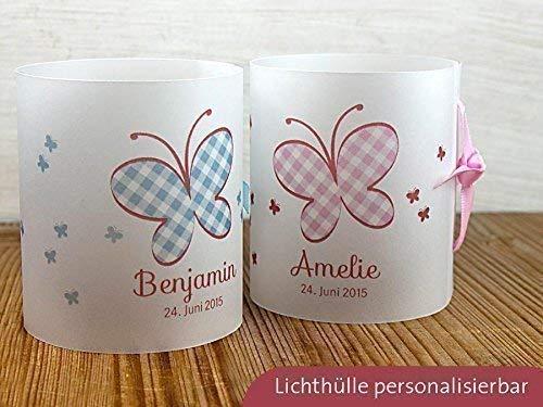 8 x Personalisierbare Lichthülle mit Schmetterling für Tischlicht für Taufe Geburtstag
