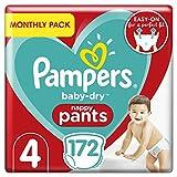 Pampers Baby-Dry Culotte pour bébé Taille 4, 172 culottes économiques mensuelles, facile à enfiler avec canaux d'air pour jusqu'à 12 heures de séchage respirant, 9-15 kg