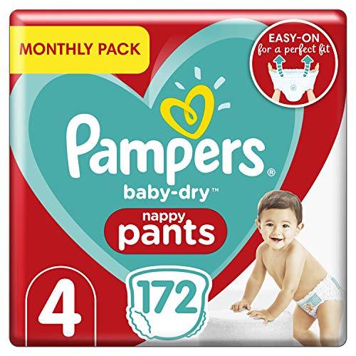 Pampers Baby-Dry Windelhose Größe 4 172 Windelhose Monatspackung Easy-On mit Luftkanälen für bis zu 12 Stunden atmungsaktive Trockenheit 9-15 kg