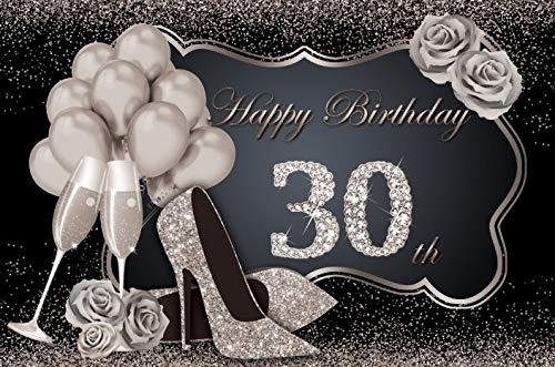 Fondo fotográfico Feliz cumpleaños Fabuloso de Las Mujeres 30 35 40 50 60th Fiesta Tacones Altos Globo Dorado Fondo fotográfico Rosa A9 3x3m