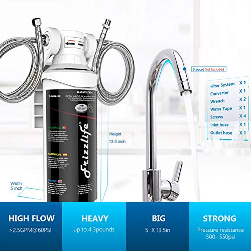 Frizzlife Under Sink Water Filter System-NSF/ANSI 53&42 Certified High Capacity Direct Connect Under Counter Drinking Water Filtration System-0.5 Micron Removes 99.99% Lead, Chlorine, Bad Taste & Odor