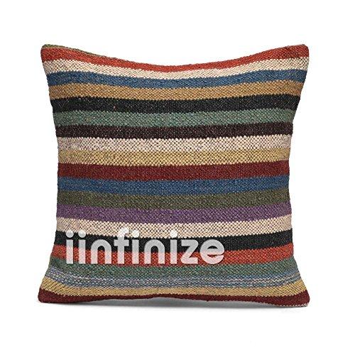 iinfinize Funda de almohada de yute de lana cuadrada para sofá de estilo vintage, funda de cojín para sala de estar, almohada decorativa para sofá hippie, almohada bohemia (Multi, 1)
