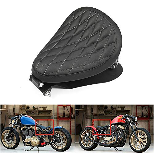 "Amazicha 3"" Black Leather Solo Seat Chrome Barrel Springs Bracket Base Plate Pan Mounting Kit Compatible for Harley Honda Yamaha Kawasaki Suzuki Sportster Bobber Chopper"