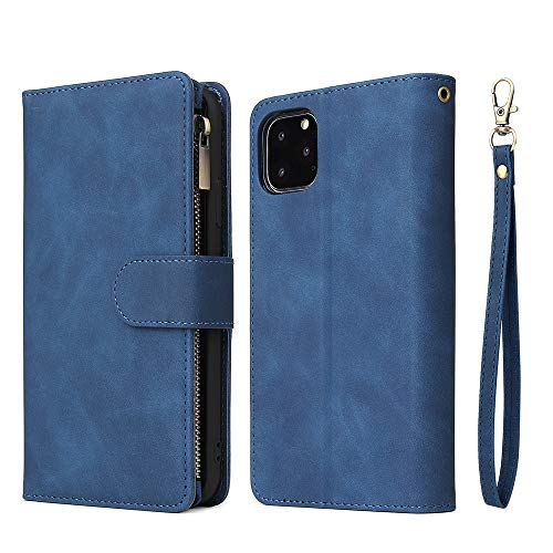 ERUMID Funda tipo cartera con tapa para iPhone 11 Pro, ranuras para tarjetas y dinero, cierre magnético, correa de mano para iPhone 11 Pro, color azul
