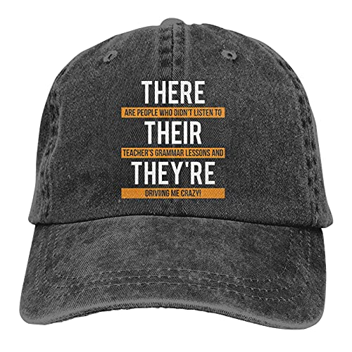 398 Their They're There Grammar Unisex Baumwoll-Baseballkappe verstellbar Vintage Classic Casual Dad Hat Schwarz
