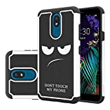 LEEGU Case Compatible with LG Aristo 4 Plus, LG Arena 2, LG Escape Plus, LG Journey LTE, LG Tribute Royal, LG Neon Plus, Shock Absorption Dual Layer Heavy Duty Protective Case - Don't Touch My Phone