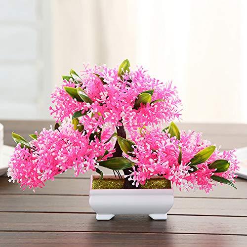 Qys Künstliche Pflanzen Gefälschte Blumen Topfpflanze Innen Und Outdoor Schreibtisch Wein Kabinett Bücherschrank Dekoration,pink