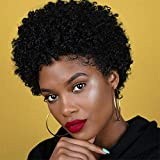 Short Afro Kinky Curly Human Hair Wigs Glueless...