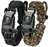 A2S Protection Paracord Bracelet K2-Peak – Survival Gear Kit with Embedded Compass, Fire Starter, Emergency Knife & Whistle (Black/Green Camo Adjustable Size)