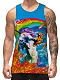 Freshhoodies Tank Top for Men Boys Rainbow Unicorn Sleeveless Shirt Undershirts Rave Party Street Casual Club Tees Clothing Workout Muscle Bodybuilding Gym T Shirt