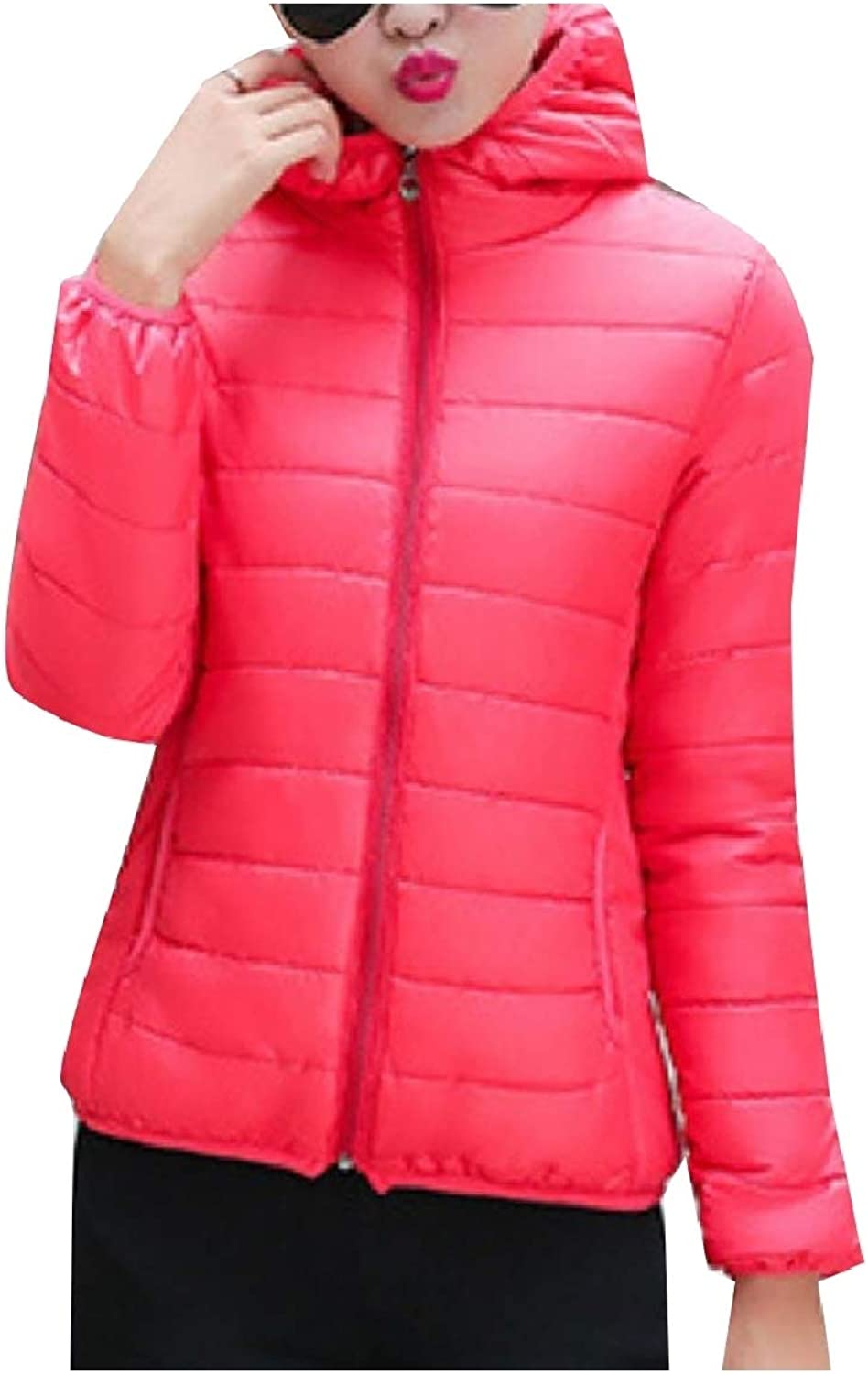 Baseby Women Quilted Thermal Brumal Short ZipUp Puffer Hooded Parka Jacket