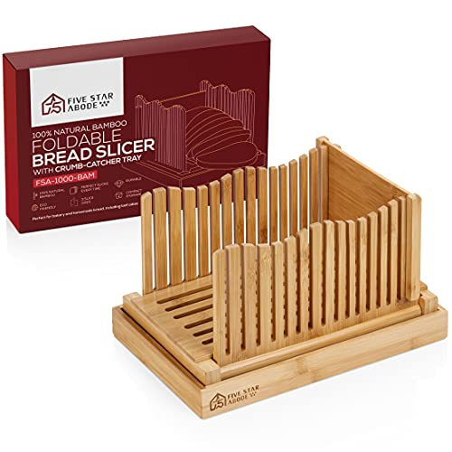 Bamboo Bread Slicer Guide With Crumb Catcher And Serving Tray - 3 Slice Sizes - Adjustable - Perfect For Homemade Bread, Loaf Cakes, Bagels - Foldable For Compact Storage - Slicing - Cutting