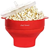 Chef Rimer Microwave Popcorn Popper Sturdy Convenient Handles Healthy No Oil Silicone Red...