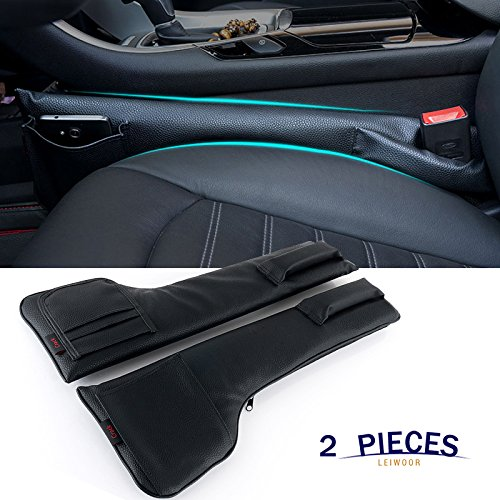 LEIWOOR Car Seat Gap Filler Pad PU Leather Console Side Pocket Organizer Set of 2 for Cellphone Wallet Coin Key (Black)