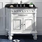 Ove Decors Islay 36 in. Antique White Gold Brushed Single Sink Vanity with Black Granite Top