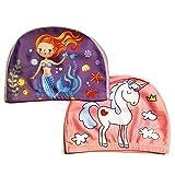 2er-Set Zauberhafte Badekappen für Mädchen (Alter: 2-5 Jahre) - Einhorn und Meerjungfrau - 100% Nylon und 0% Ziepen