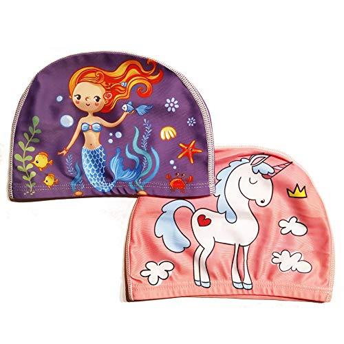 Filo Fuchs Juego de 2 Gorros de baño mágicos para niña (Edad: 3 – 10 años) – Unicornio y Sirena – 100% Nailon y 0% Cabras