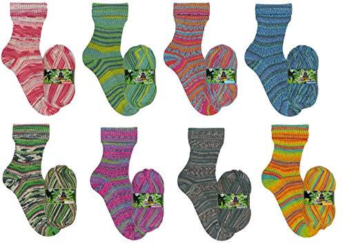theofeel Sockenwolle Paket Opal Regenwald 16, 4 fädig, 8X 100g, 4 Fach Sockenwolle mit Muster, musterbildend Sortiert