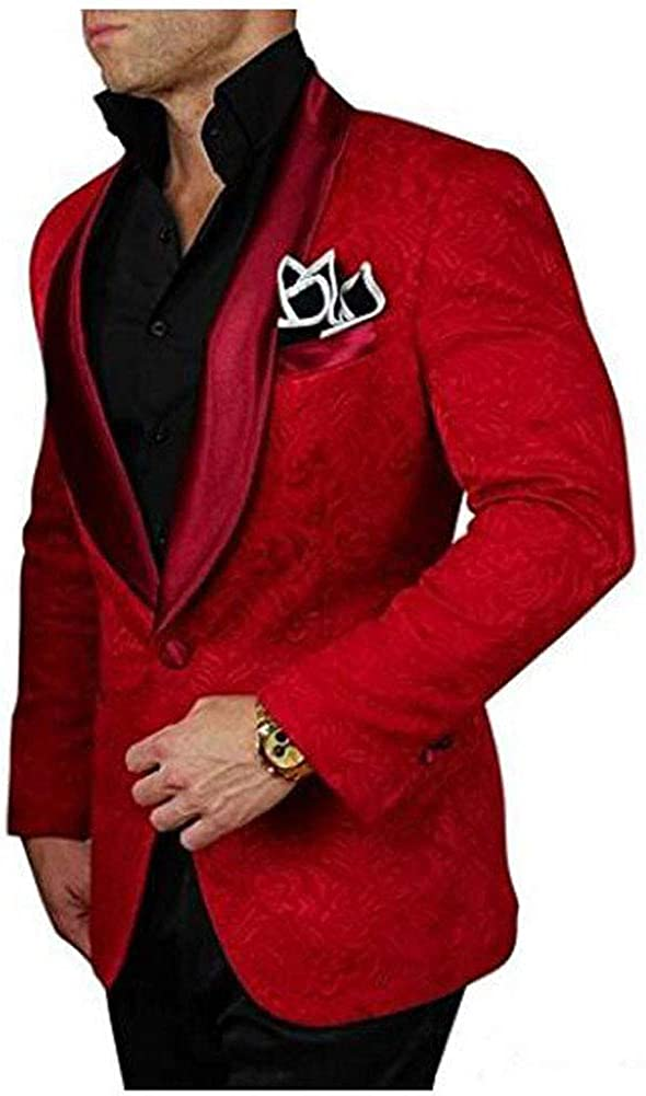 Blue One Button Shawl Lapel Mens Suits 2 Pc Groom Wedding Tuxedos Prom Suits