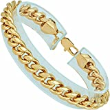 LIFETIME JEWELRY 9mm Cuban Link Chain Bracelet for Men and Women 24k Gold Plated (Yellow Gold, 8)