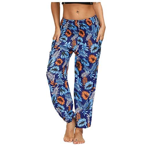 WGNNAA Damen Haremshose mit Gesmoktem Bund Boho Pumphose Blumenmuster Frauen Drucken Yogahose Lässige Lange Hosen Elatische Taille