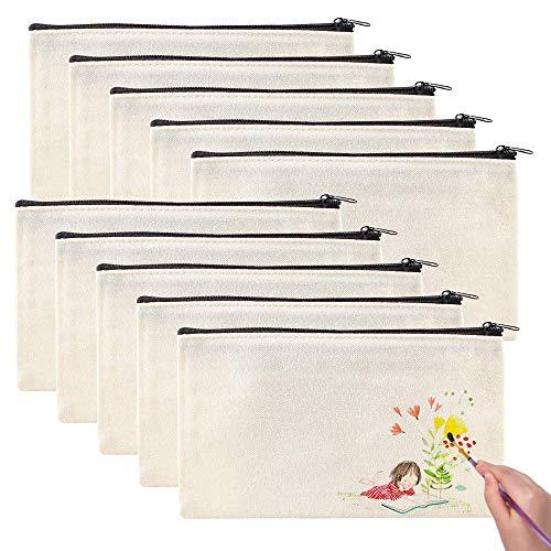 AODOOR 10 bolsas de tela de lona, para manualidades, en blanco, con...