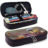 Étui à crayons en cuir PU avec fermeture à glissière, porte-stylo de marqueur de stockage de capacité de champignon toxique, trousse de maquillage