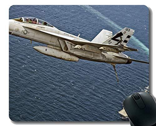 Mauspad mit genähtem Rand, F_A 18E_F Hornet Fighter Warplane Kriegsschiff-Mauspad, Rutschfeste Gummibasis Mousepad