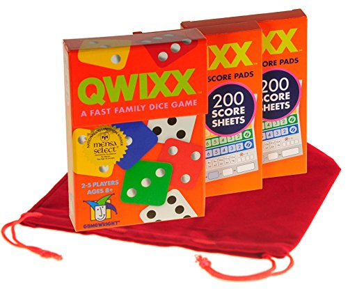 Deluxe Games and Puzzles QWIXX Fast Family Dice Game _ with 2 Replacement Score Pad Packs _ Bonus RED Velvet Drawstring Pouch _ Bundled Items