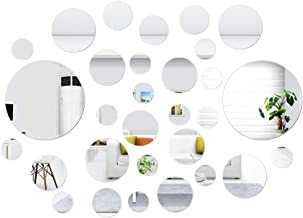 SelfTek 30 Pcs DIY Mirror Wall Stickers Self Adhesive Removable Round Mirrors Decor for Home Art Room Bedroom Background Decoration