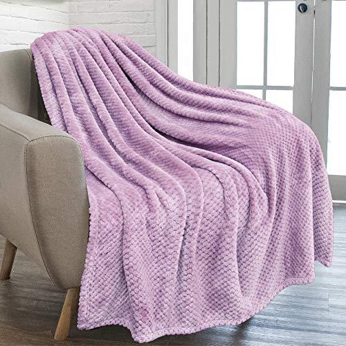 PAVILIA Waffle Textured Fleece Throw Blanket for Couch Sofa, Lavender Light Purple | Soft Plush Velvet Flannel Blanket for Living Room | Fuzzy Lightweight Microfiber Throw for All Seasons, 50 x 60
