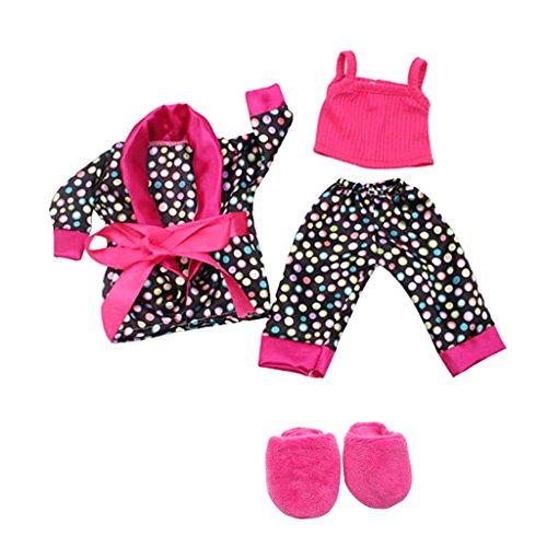 5 Stück Puppe Kleidung Tops, Hosen, Mantel, Pantoffel Outfit Set für 18 Zoll Mädchen Puppen