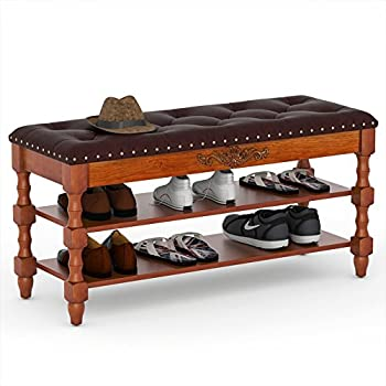 Tribesigns Shoe Bench  Solid Wood Storage Bench Entryway with Lift Top 2-Tier Vintage Shoe Rack with Seating Tufted Leather Cushion for Foyer  Accent Furniture