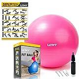 LETWY Palla Fitness | 65cm Fucsia | Nuova Versione 2020 con Poster Esercizi-Ginnastica, Fitball Fit...