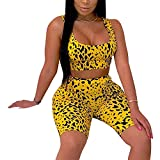Women's Sexy Bodycon 2 Piece Outfits Crop Top Shorts Pants Jumpsuit Romper Set Yellow XL