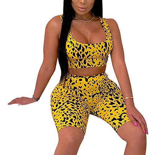 Women's Sexy Bodycon 2 Piece Outfits Crop Top Shorts Pants Jumpsuit Romper Set Yellow M
