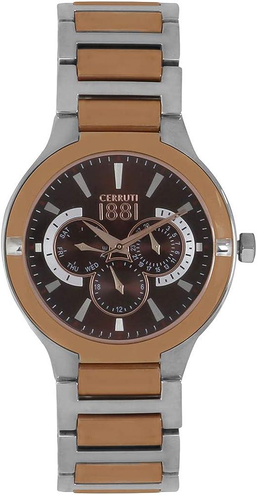 Cerruti 1881 orologio,cronografo per uomo,in acciaio inossidabile bicolore CRA105STR12MRT