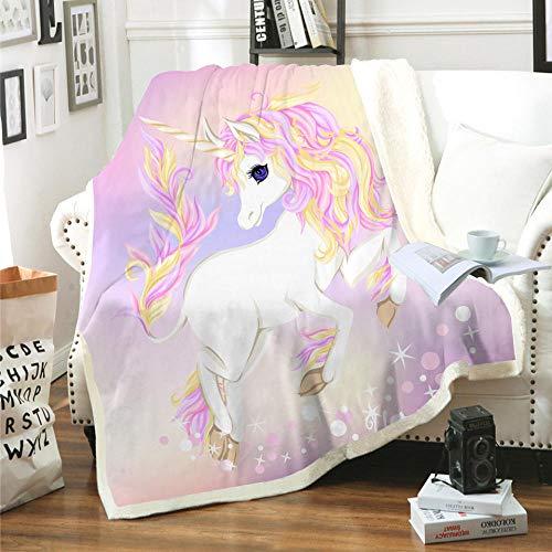 Manta Unicornio Animal de Dibujos Animados Rosa púrpura Amarillo Blanco Manta Impresa en 3D súper Suave y acogedora Sherpa Polar Manta (130 x 150 cm) para niños,niños,Adultos,Cama,sofá y Viaje de