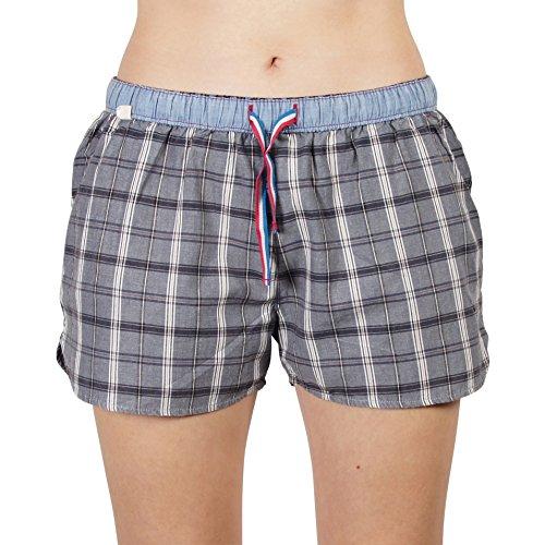 Luca David Olden Glory Damen Pyjama-Shorts mit Karo-Muster Grau/Blau (2400-17101) Größe 42