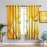 ZLYYH cortinas habitacion Amarillo moda plantas flores. WxH:229x274cm(114x274cm x2 paneles) 2 Piezas de Cortinas Opacas Resistente al Calor y La Luz para Salón Dormitorio para Oficina Moderna Decorati